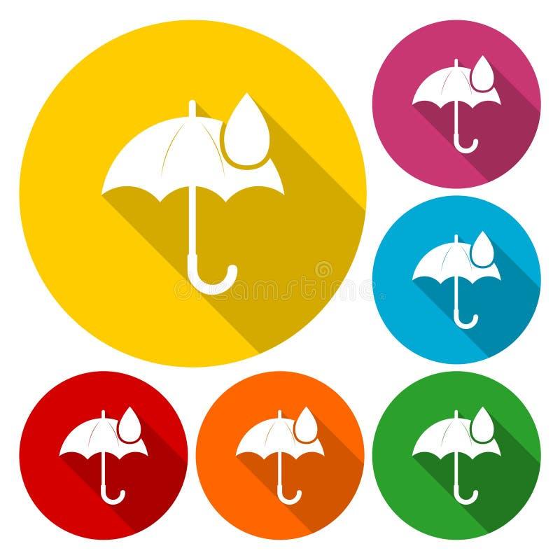 Icono de la muestra del paraguas Símbolo del descenso del agua ilustración del vector