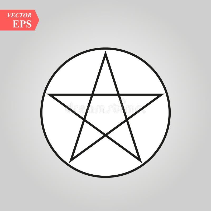 Icono de la muestra del Pentagram de Wicca Elemento del icono de la muestra de la religión para los apps móviles del concepto y d stock de ilustración