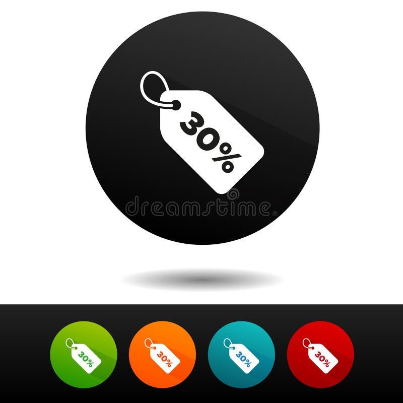 icono de la muestra del precio de la venta del 30% Símbolo del descuento del vector Etiqueta de la oferta especial stock de ilustración