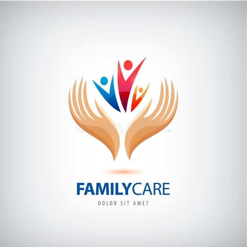 Icono de la muestra del seguro de la vida familiar del vector Las manos protegen, llevan a cabo símbolo humano del grupo ilustración del vector