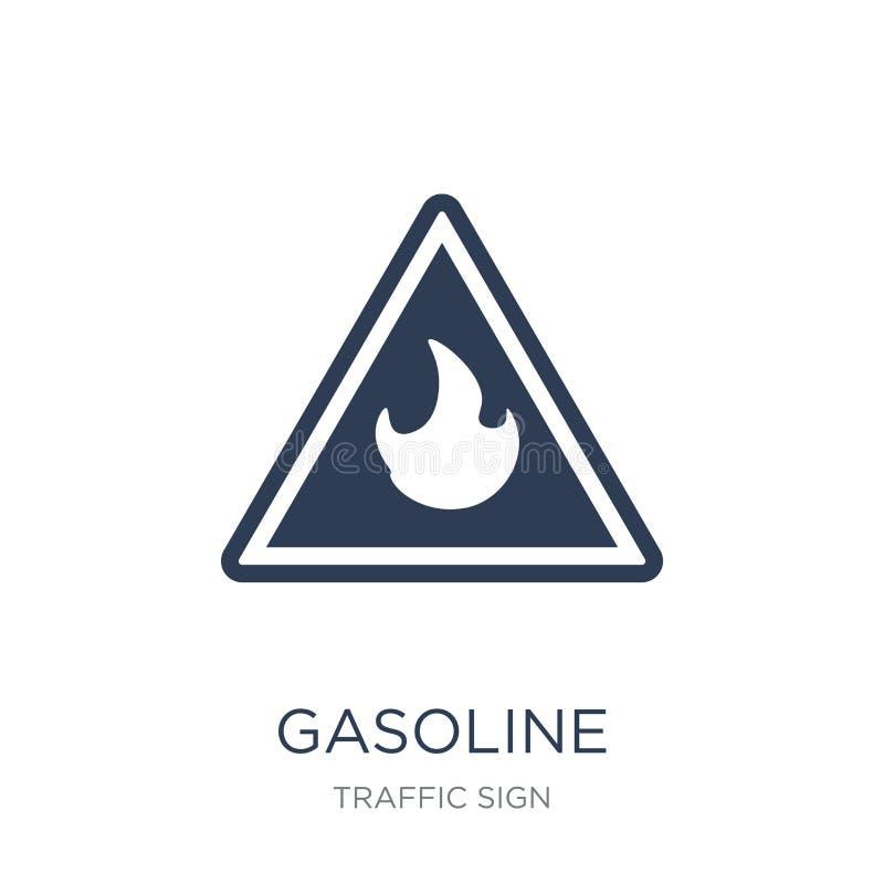 Icono de la muestra de la gasolina Icono plano de moda de la muestra de la gasolina del vector en whi ilustración del vector