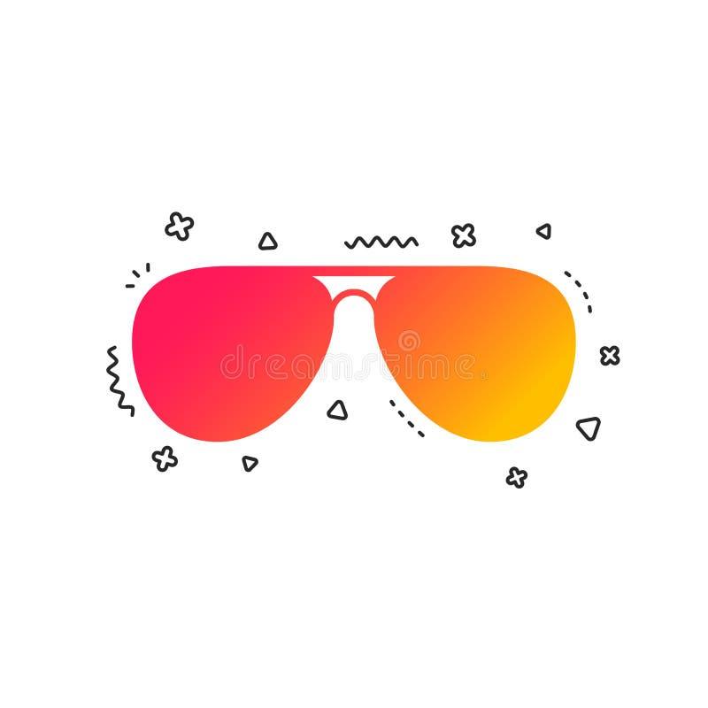 Icono de la muestra de las gafas de sol tipo aviador Vidrios experimentales Vector stock de ilustración