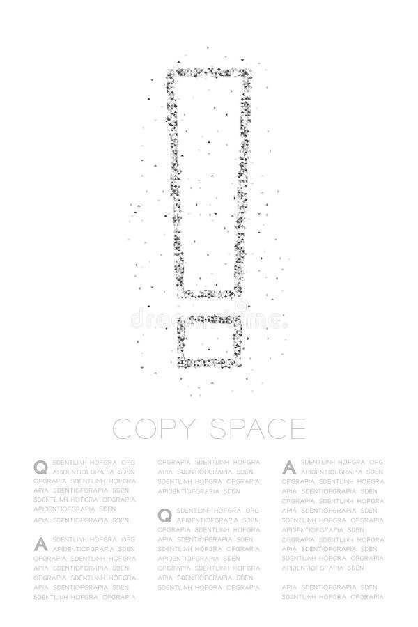 Icono de la muestra de la marca de exclamación pixel de la caja cuadrada del polígono y del modelo bajos geométricos abstractos d libre illustration
