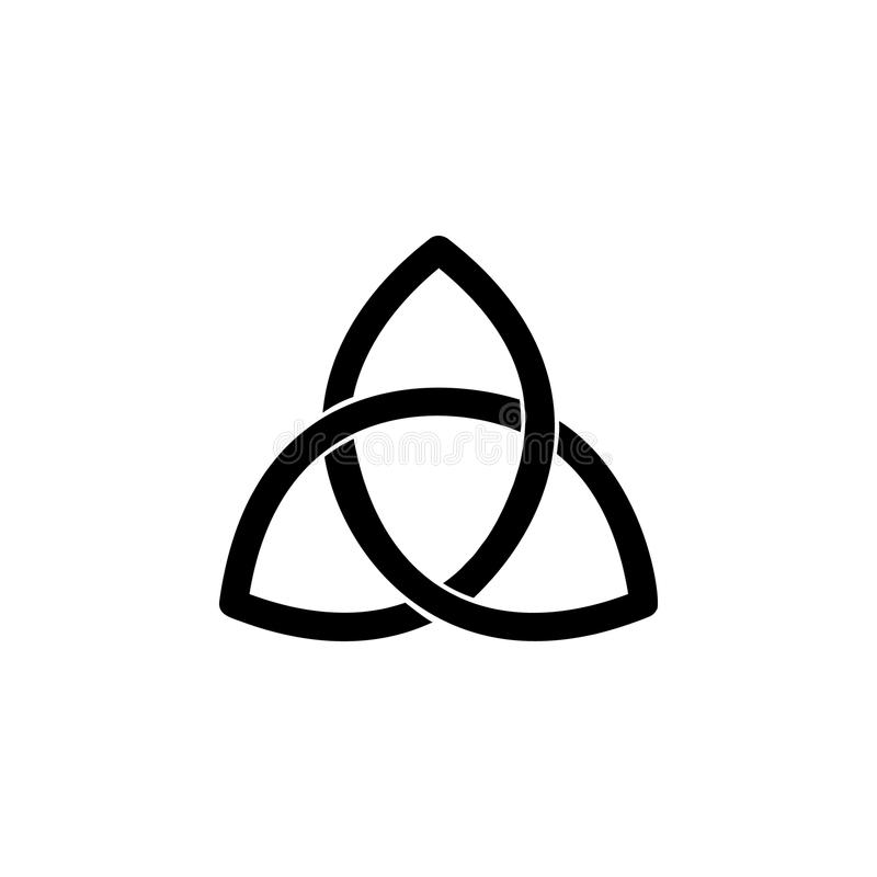 Icono de la muestra de Triquetra del paganismo Elemento del icono de la muestra de la religión para los apps móviles del concepto ilustración del vector