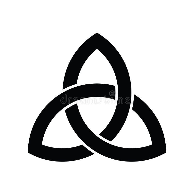 Icono de la muestra de Triquetra Hoja-como s?mbolo c?ltico Nudo de la trinidad o del tr?bol Ejemplo negro simple del vector ilustración del vector
