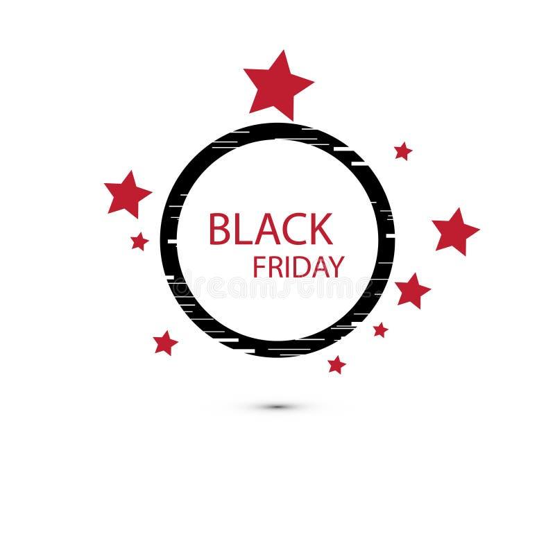 Icono de la muestra de la venta de Black Friday Símbolo de la oferta especial con la sombra y frontera y estrellas e interferenci libre illustration