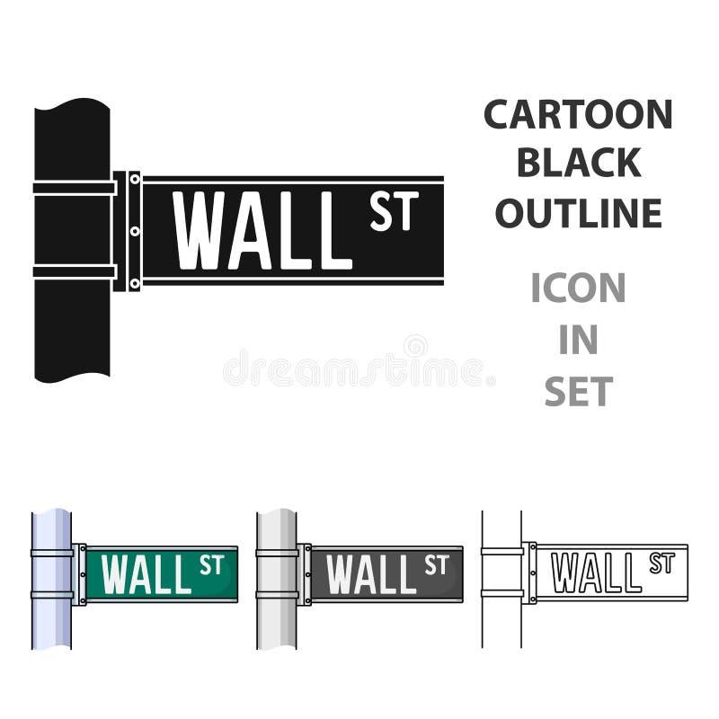 Icono de la muestra de Wall Street en estilo de la historieta aislado en el fondo blanco Dinero y ejemplo del vector de la acción ilustración del vector