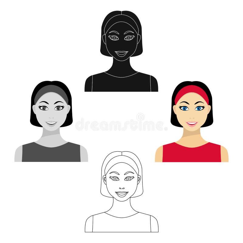 Icono de la mujer del pelo negro en la historieta, estilo negro aislada en el fondo blanco Ejemplo del vector de la acci?n del s? ilustración del vector