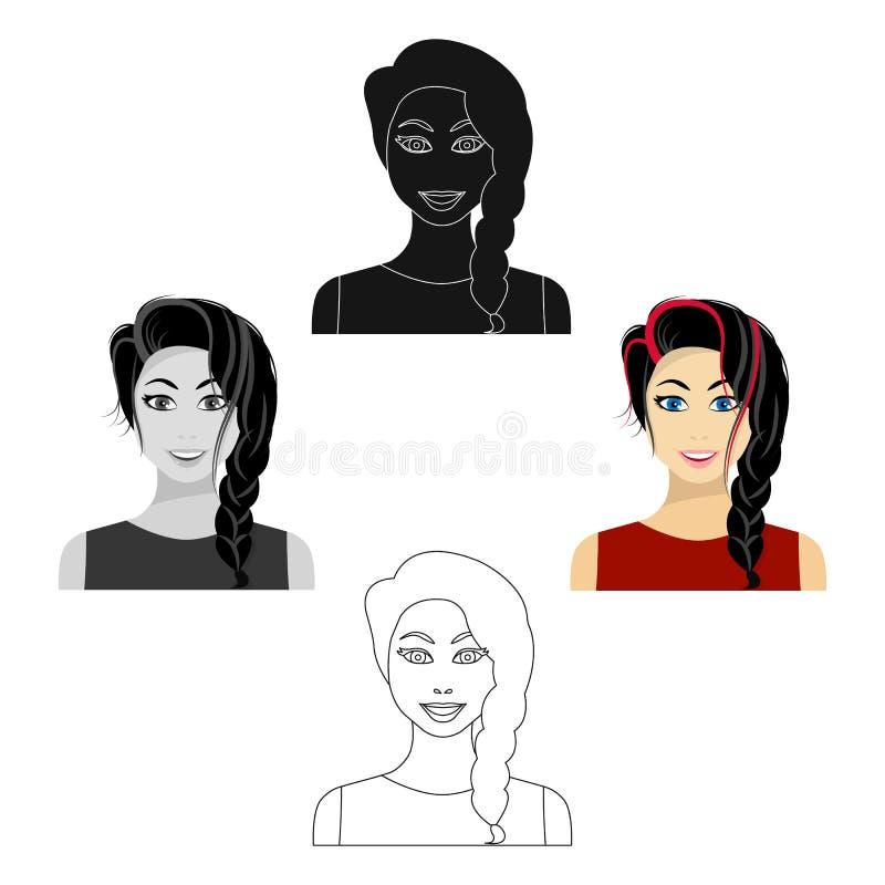 Icono de la mujer del pelo negro en la historieta, estilo negro aislada en el fondo blanco Ejemplo del vector de la acci?n del s? stock de ilustración