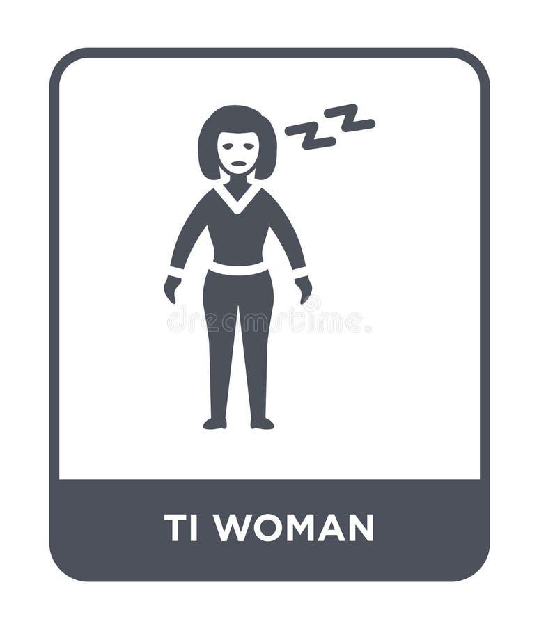 icono de la mujer del ti en estilo de moda del diseño icono de la mujer del ti aislado en el fondo blanco plano simple y moderno  libre illustration