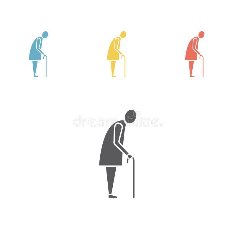 Icono de la mujer mayor Icono del vector de la silueta de la abuela libre illustration