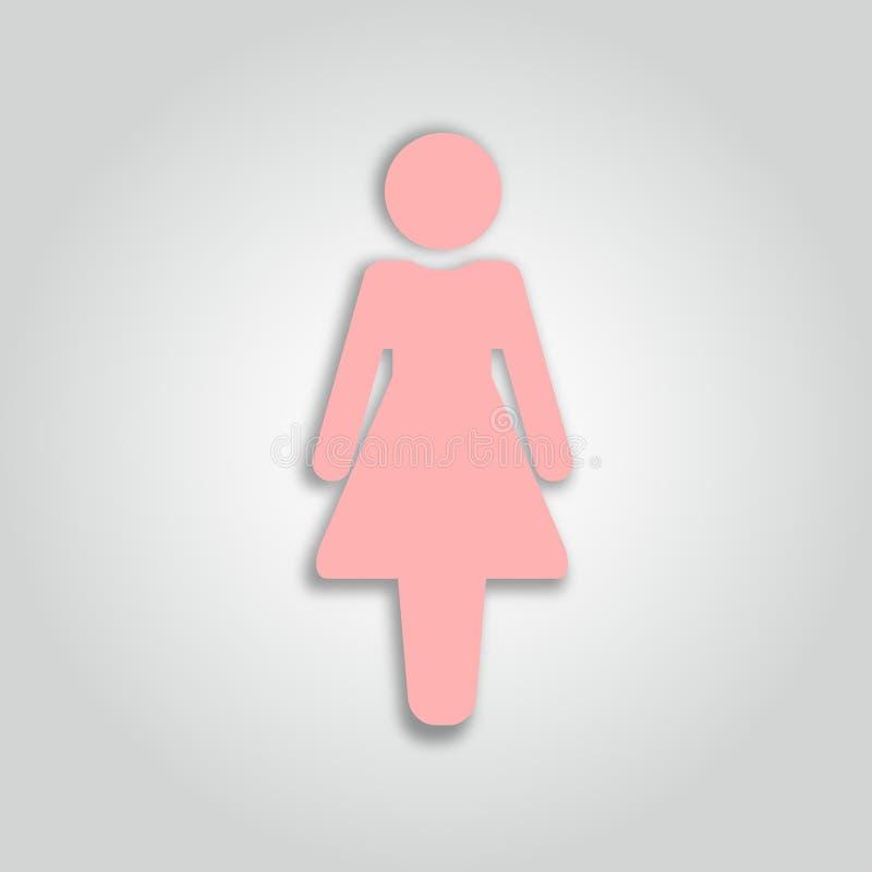Icono de la mujer Muestra femenina Silueta 001 de la mujer Estilo aislado vector del arte del papel 3d stock de ilustración