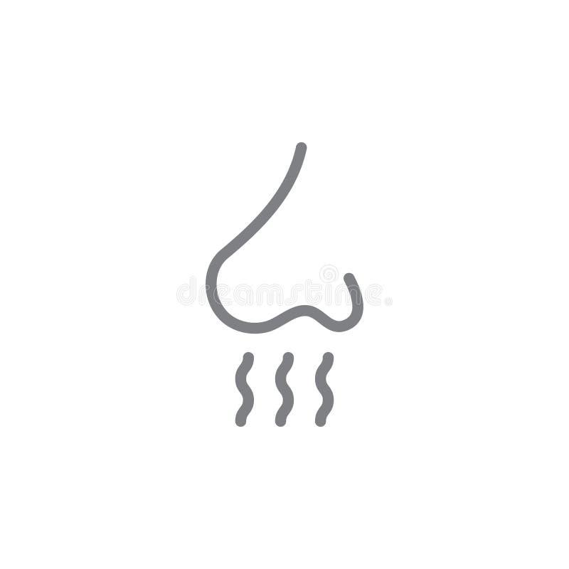 Icono de la nariz y del esquema del olor del humo Elementos del icono del ejemplo de las actividades que fuma Las muestras y los  ilustración del vector