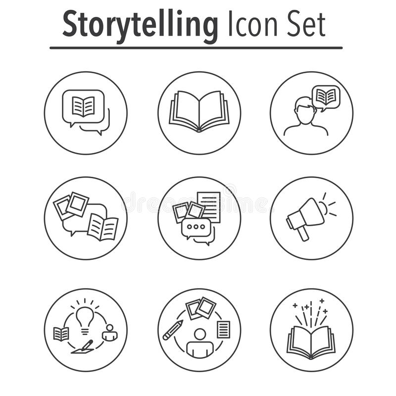 Icono de la narración fijado con las burbujas del discurso ilustración del vector