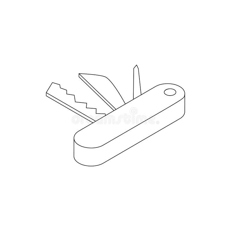 Icono de la navaja de bolsillo, estilo isométrico 3d stock de ilustración