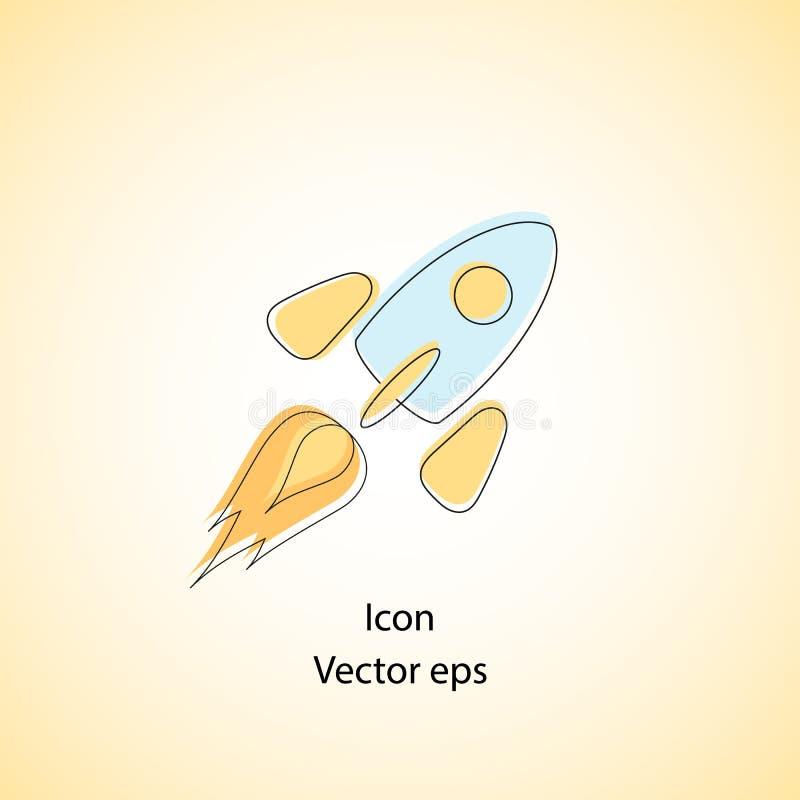 Icono de la nave del cohete del color en diseño plano Cohete del vuelo en espacio Un icono simple de una nave espacial, historiet stock de ilustración