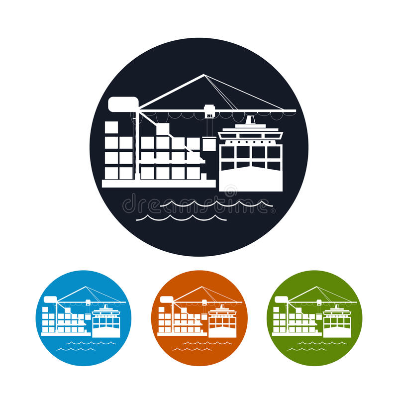 Icono de la nave del contenedor para mercancías, icono de la logística libre illustration