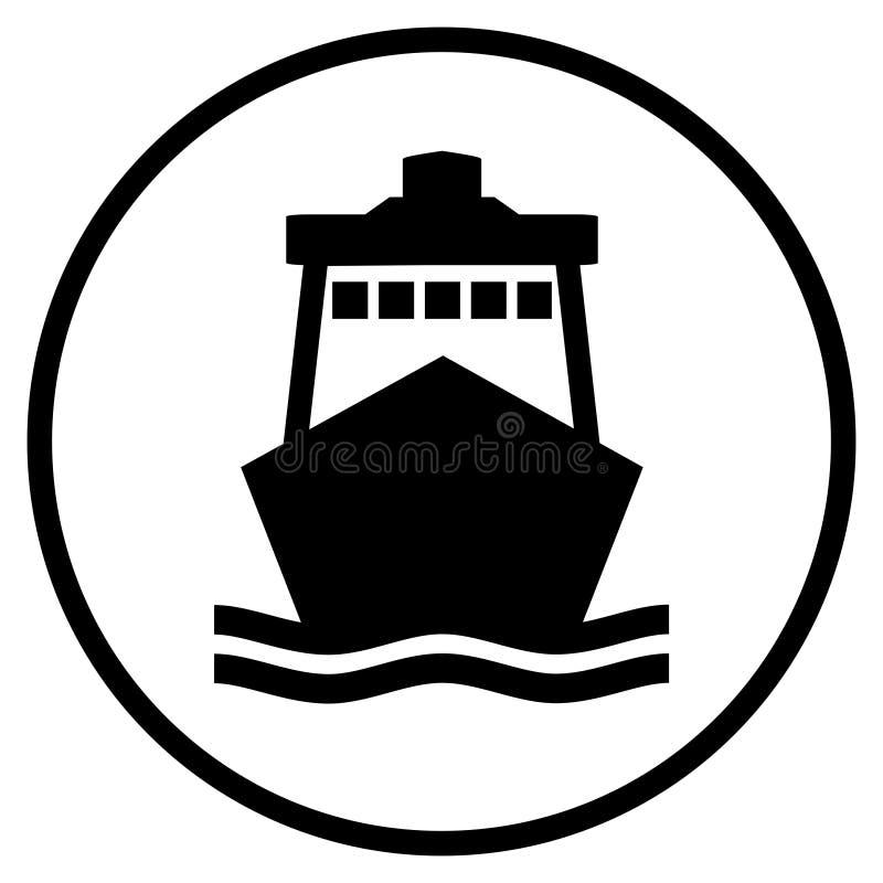 Icono de la nave en círculo negro stock de ilustración