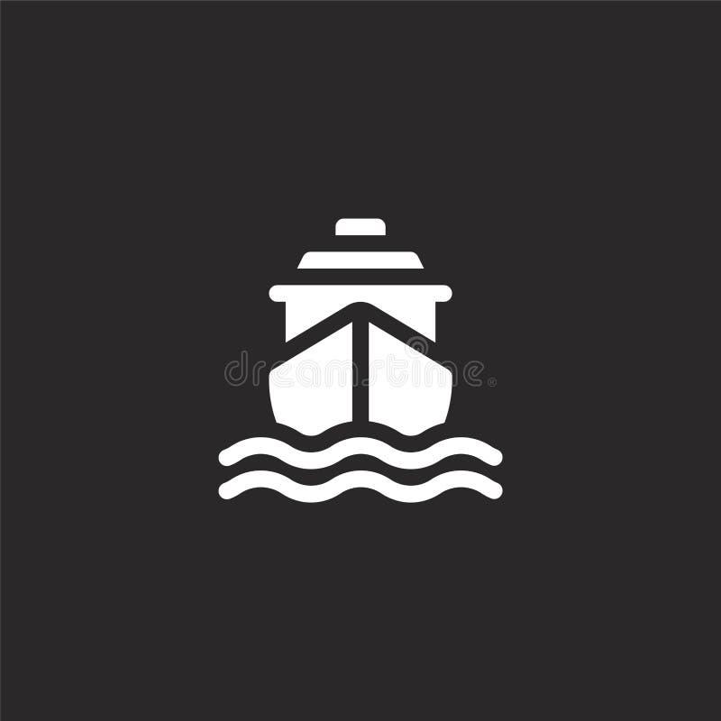 Icono de la nave Icono llenado de la nave para el diseño y el móvil, desarrollo de la página web del app icono de la nave de la c ilustración del vector