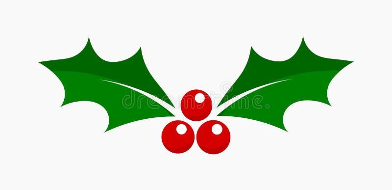 Icono de la Navidad de la baya del acebo libre illustration