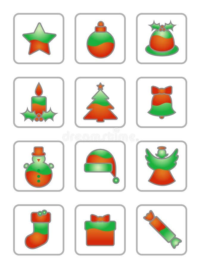 Icono de la Navidad fijado en blanco ilustración del vector