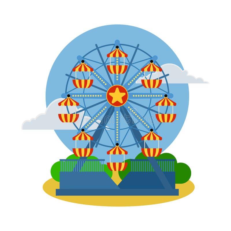 Icono de la noria del circo Ejemplo de la historieta de la noria del circo El vector aisló el icono plano de la demostración retr stock de ilustración