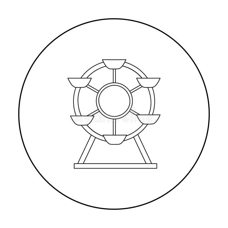 Icono de la noria en estilo del esquema aislado en el fondo blanco Ejemplo del vector de la acción del símbolo del jardín del jue ilustración del vector