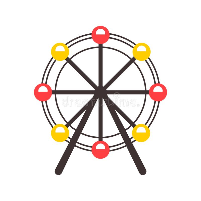 Icono de la noria en estilo de la historieta aislado en el fondo blanco Ejemplo del vector del símbolo de la atracción libre illustration