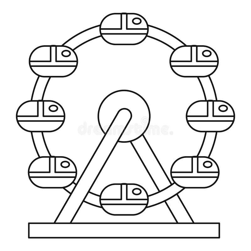 Icono de la noria, estilo del esquema ilustración del vector