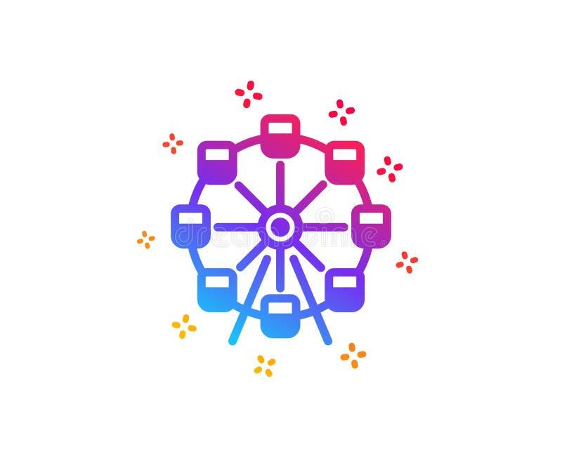 Icono de la noria Muestra del parque de atracciones Vector stock de ilustración
