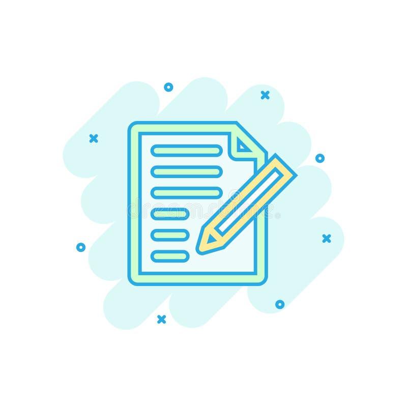 Icono de la nota del documento en estilo cómico Pictograma de papel del ejemplo de la historieta del vector de la hoja Chapoteo d stock de ilustración