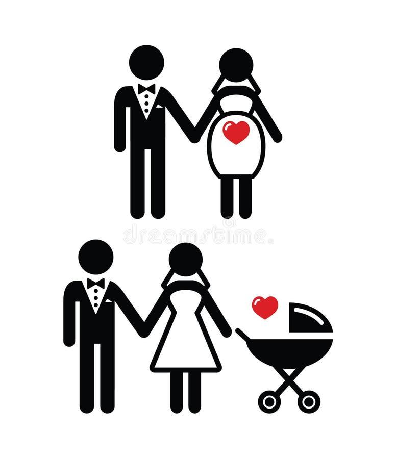 Icono de la novia/novia embarazados con el cochecito de niño   libre illustration