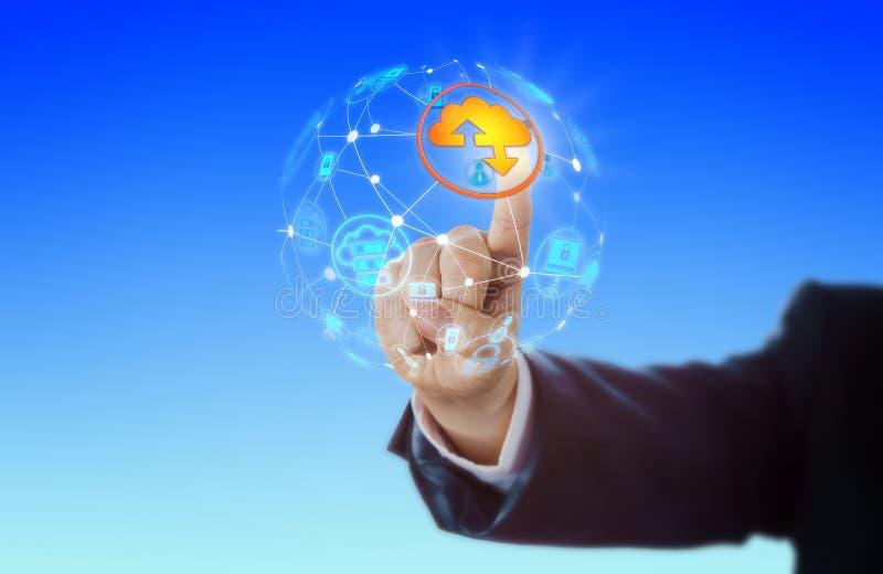 Icono de la nube de la mano que activa en red global imágenes de archivo libres de regalías