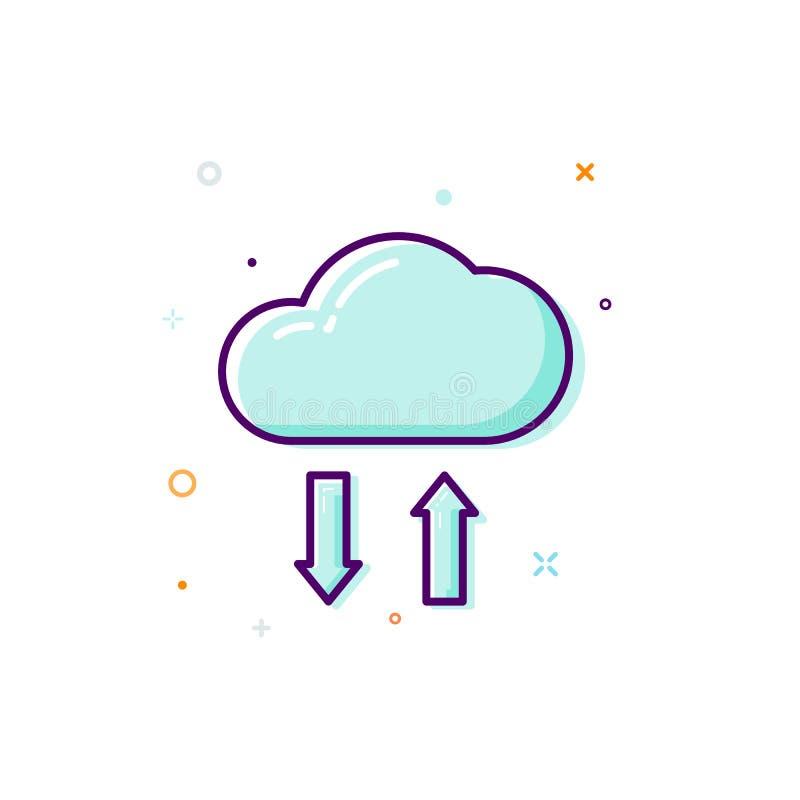 Icono de la nube del concepto Línea fina diseño plano Concepto del almacén de datos Ilustración del vector aislada en el fondo bl ilustración del vector