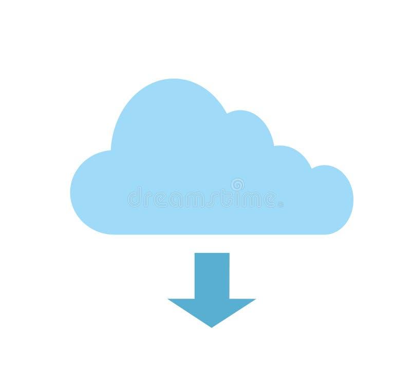 Icono de la nube sobre el fondo blanco, ejemplo común del vector ilustración del vector
