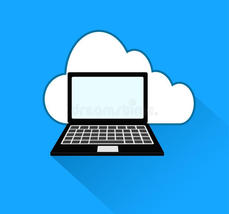 Icono de la nube y del ordenador portátil sobre fondo azul con la sombra, VE común libre illustration
