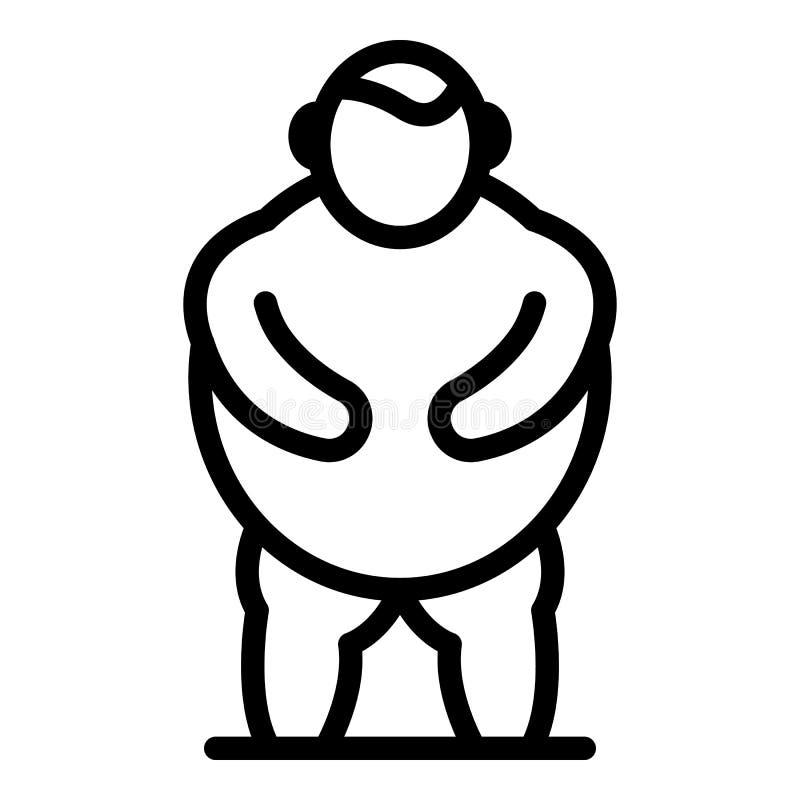 Icono de la obesidad del hombre, estilo del esquema libre illustration