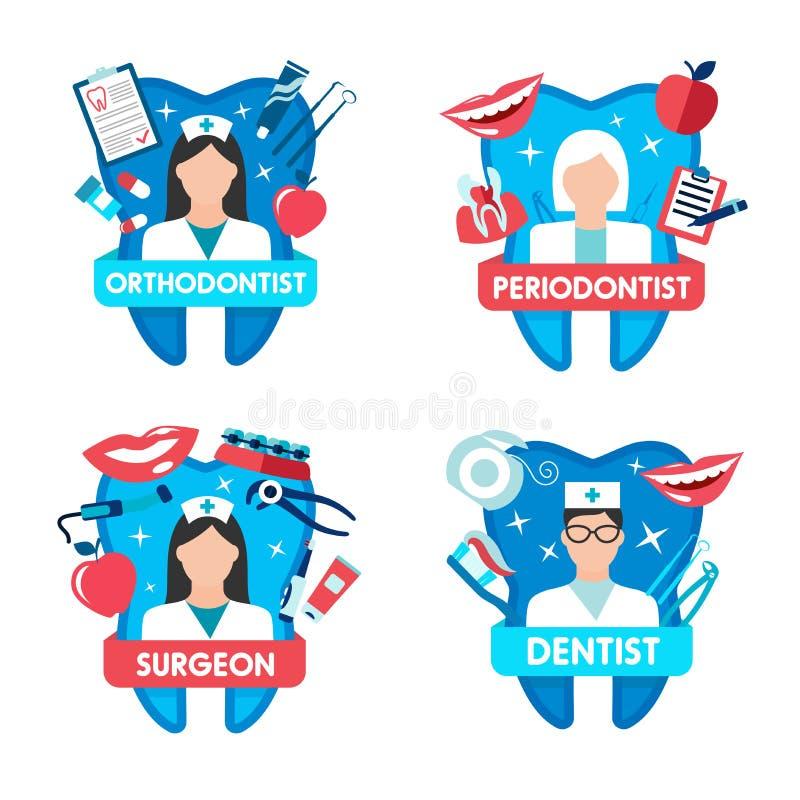 Icono de la odontología con el doctor y el diente del dentista libre illustration