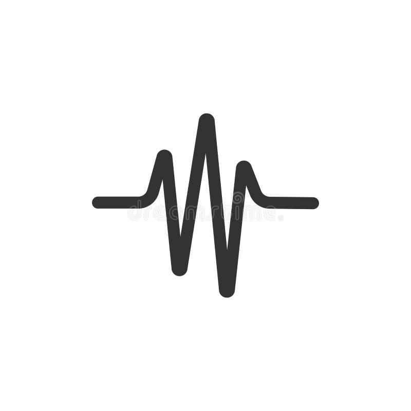 Icono de la onda acústica en estilo plano El corazón batió el ejemplo del vector en el fondo aislado blanco Concepto del negocio  ilustración del vector