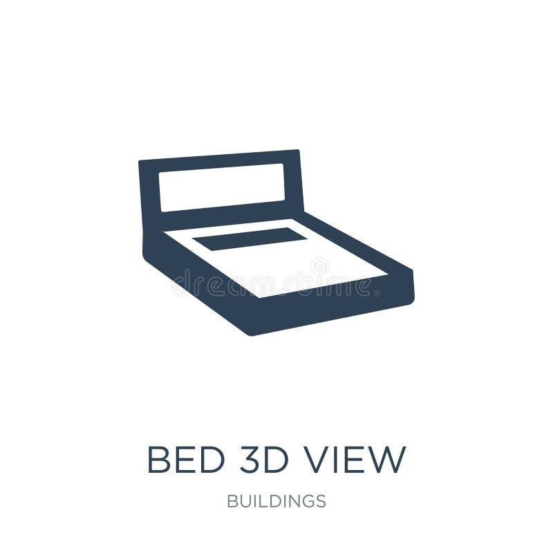icono de la opinión de la cama 3d en estilo de moda del diseño icono de la opinión de la cama 3d aislado en el fondo blanco icono stock de ilustración