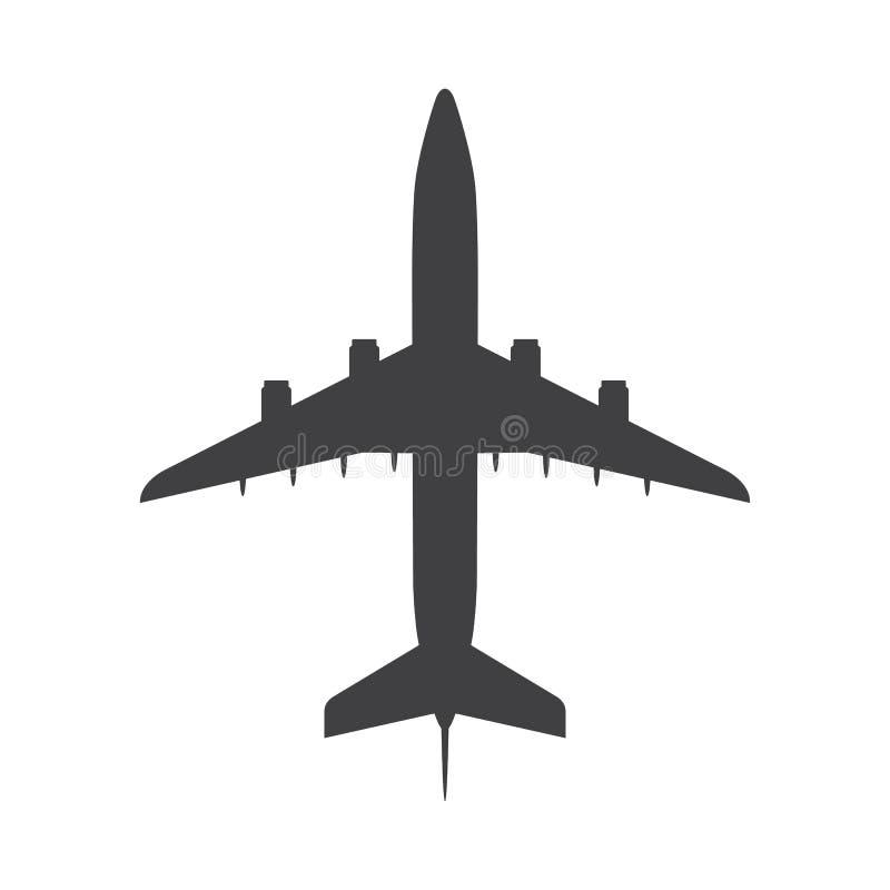 Icono de la opinión superior del aeroplano Aviones, avión de pasajeros con cuatro motores a reacción ilustración del vector