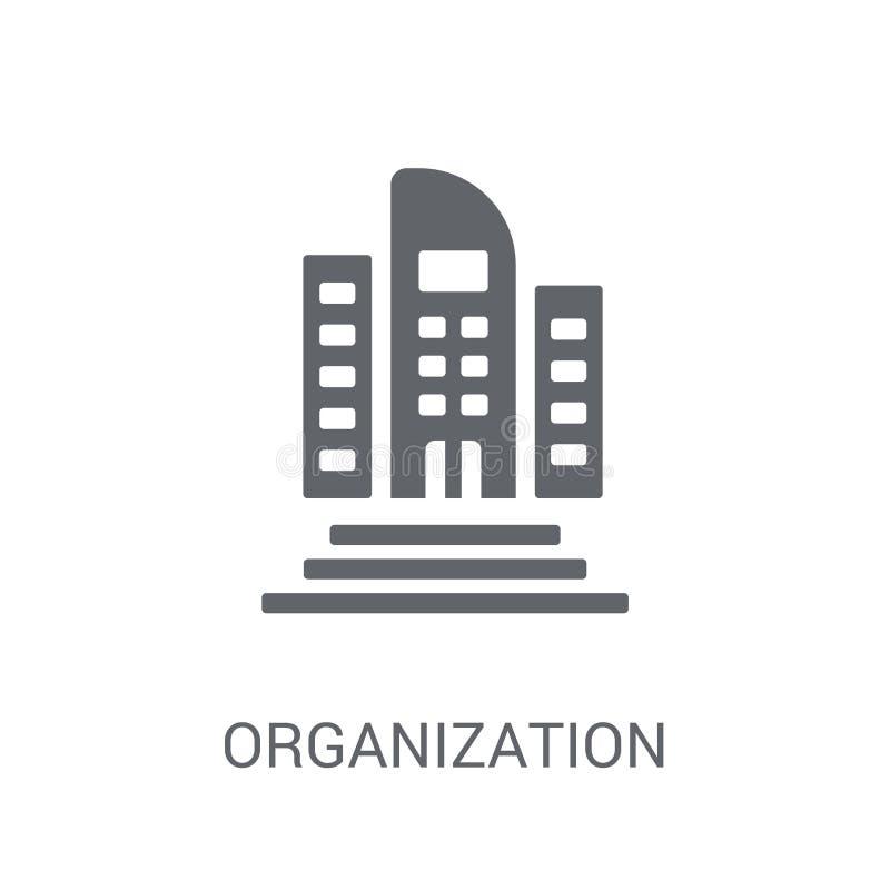 Icono de la organización Concepto de moda del logotipo de la organización en el CCB blanco ilustración del vector