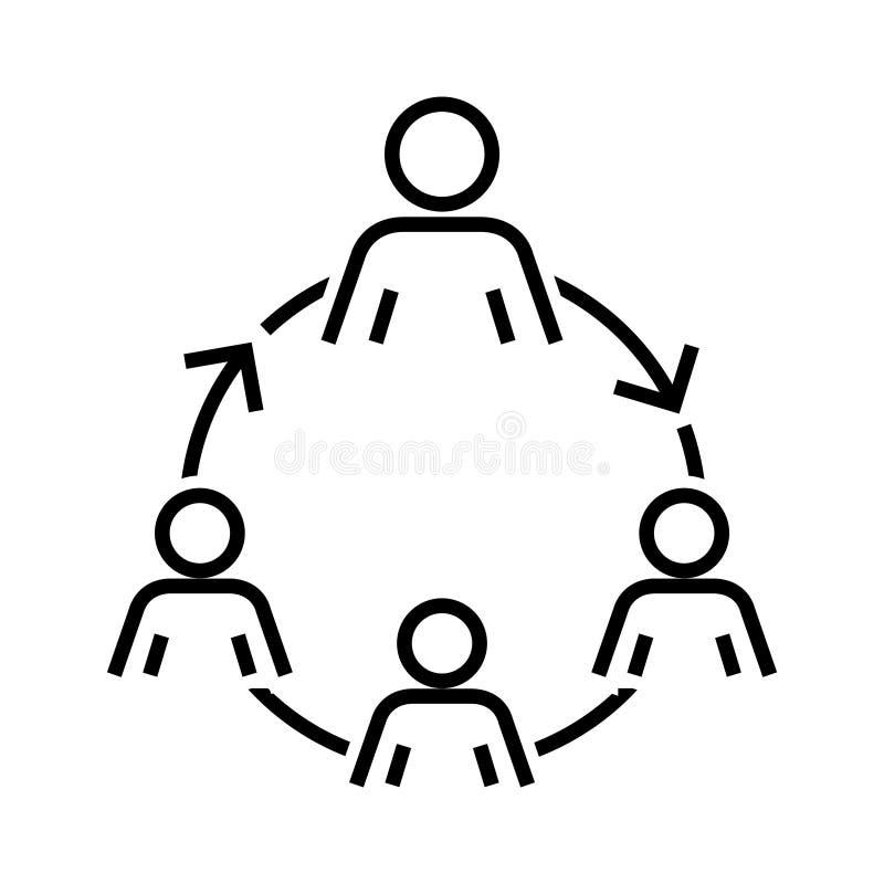 Icono de la organización de la mano de obra, ejemplo del vector stock de ilustración