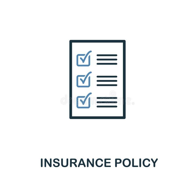 Icono de la póliza de seguro en diseño bicolor Línea icono del estilo de la colección del icono del seguro UI y UX Insura superio stock de ilustración
