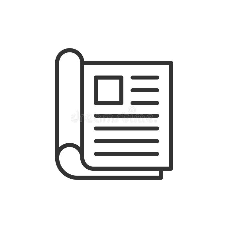 Icono de la p?gina de la revista en estilo plano Ejemplo del vector de las noticias en el fondo aislado blanco Concepto del negoc ilustración del vector