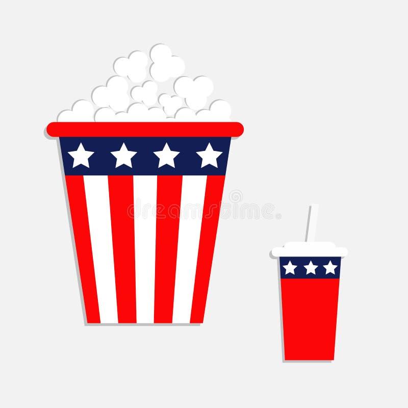Icono de la paja de la soda de las palomitas E Estrellas y tiras de la bandera americana Aislado color rojo y azul CCB blanco stock de ilustración