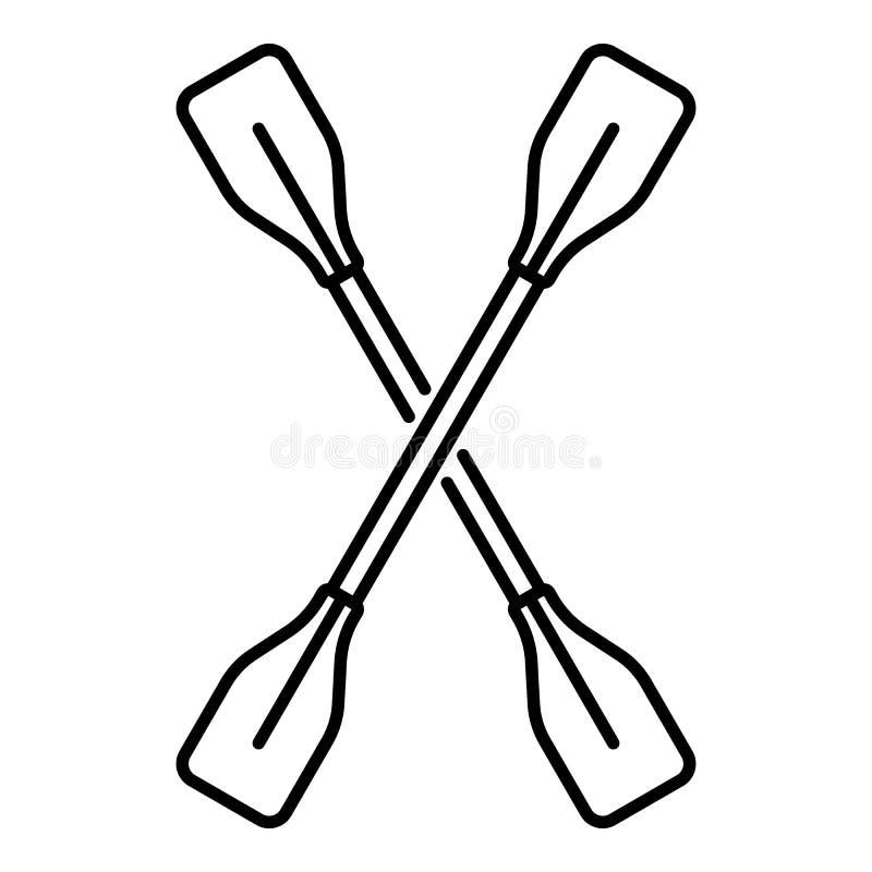 Icono de la paleta del kajak, estilo del esquema libre illustration