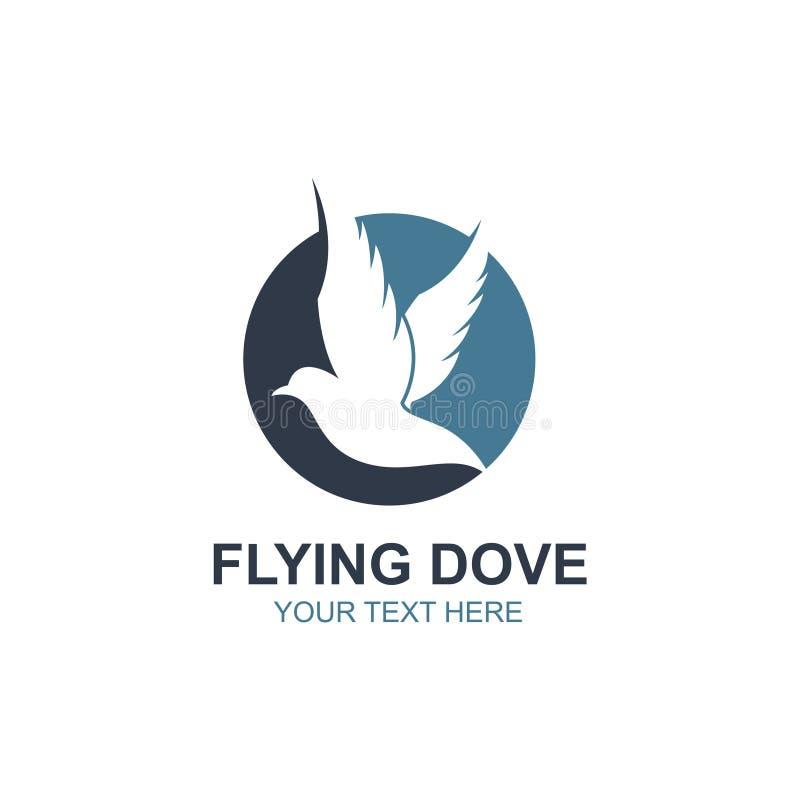 Icono de la paloma que vuela stock de ilustración