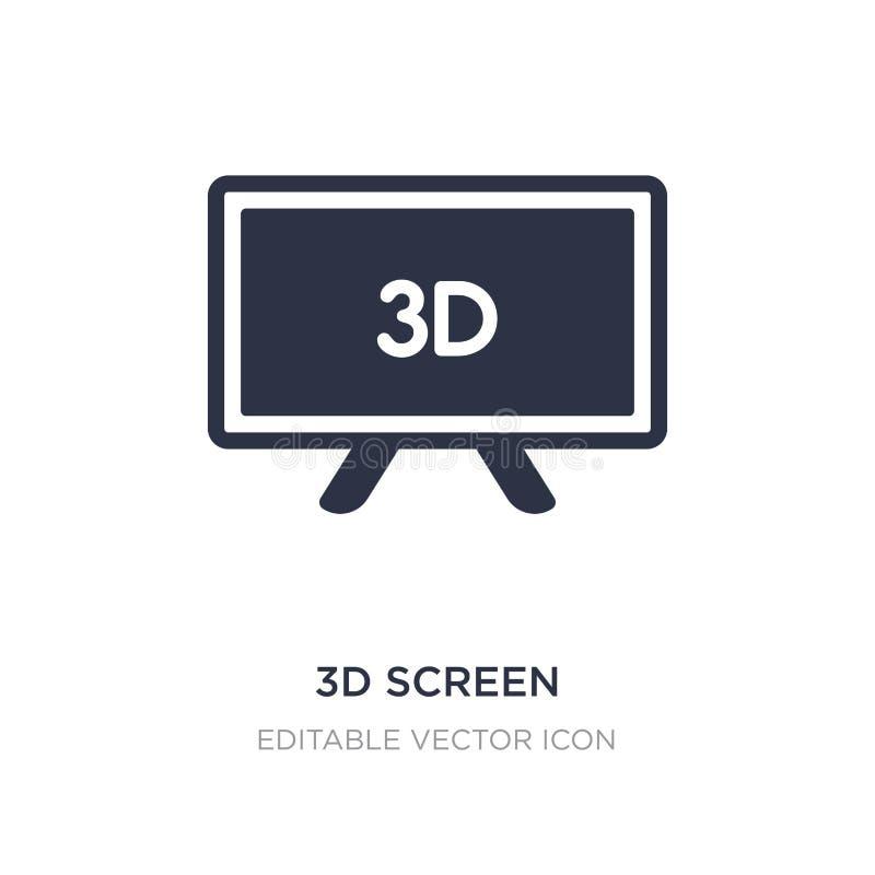 icono de la pantalla 3d en el fondo blanco Ejemplo simple del elemento del concepto del ordenador ilustración del vector