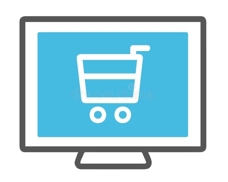 Icono de la pantalla de ordenador con el carro de la compra, símbolo del vector para las compras en línea stock de ilustración